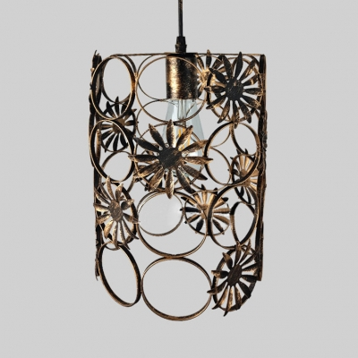 Metal Cylinder Ceiling Light Fixture Single Light Rustic Overhead Light with Adjustable Cord in Brass