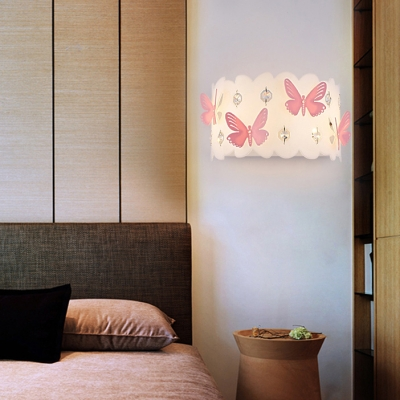 Modern Drum Sconce Light with Clear Crystal and Purple Butterfly Acrylic Wall Lamp in White