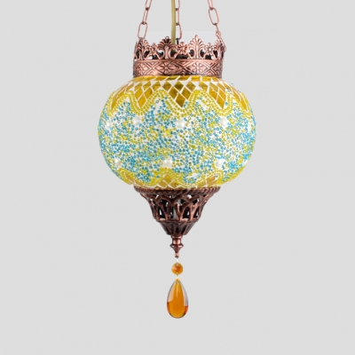 Mosaic Globe Light Fixture Single Light Moroccan Hanging Lamp in Yellow/Red/Green for Foyer