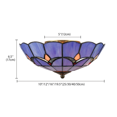 Stained Glass Tiffany Bowl Flush Ceiling Light in Blue for Kitchen Bedroom Living Room