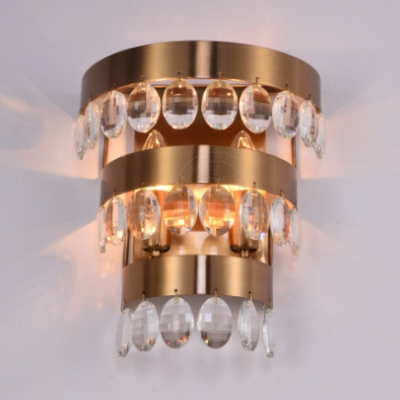Traditional Brass Wall Lamp 2 Lights Metal Wall Sconce with Clear Crystal for Dining Room