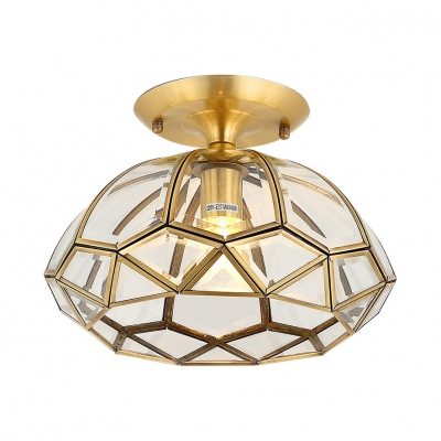Antique Style Ceiling Mounted Light 1 Light Metal And Clear Glass Flush Ceiling Light In Brass For Living Room Beautifulhalo Com