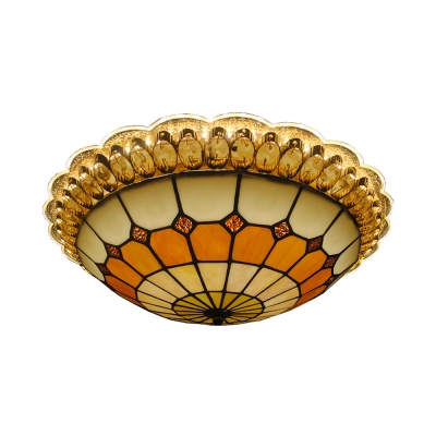 Antique Style Dome Ceiling Mount Light Stained Glass Light Fixture for Bedroom