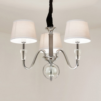 Bedroom Drum Shade Pendant Lamp Metal Fabric 3 6 Lights Modern Style Chrome Chandelier With