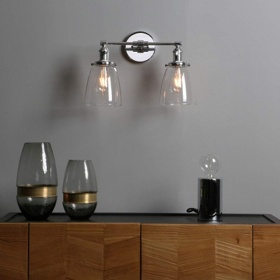 Bell Shape Wall Light Metal and Clear Glass 2 Light Industrial Wall Lamp in Silver/Chrome for Bathroom