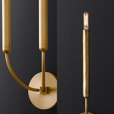 Black/Brass Linear Wall Light 1/2 Lights Simple Style Metal Wall Lamp for Dining Room Bathroom