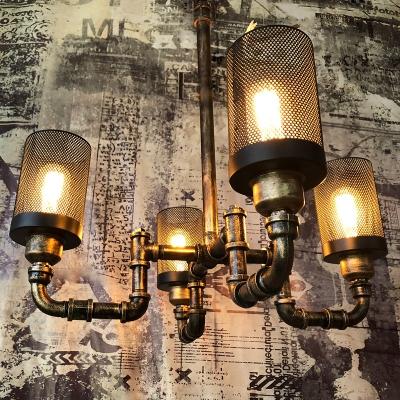 Black Cylinder Chandelier Lighting with Metal Mesh 4 Lights Vintage Rustic Ceiling Pendant in Antique Bronze