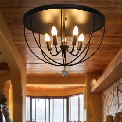 Black Dome Flush Light with Metal Frame and Clear Crystal Ball Industrial Flush Mount for Hallway