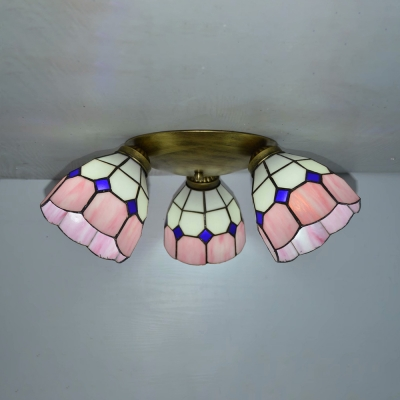 Cone Hallway Ceiling Mount Light Glass 3 Lights Tiffany Style Ceiling Lamp