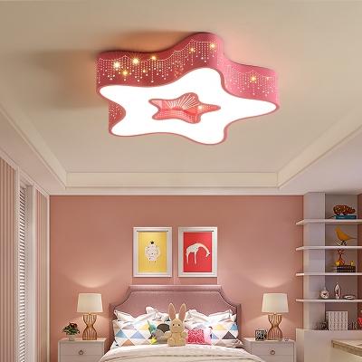 Cute Star Shape Ceiling Light White Lighting/Stepless Dimming LED Flush Mount Light in White/Blue/Pink for Bedroom