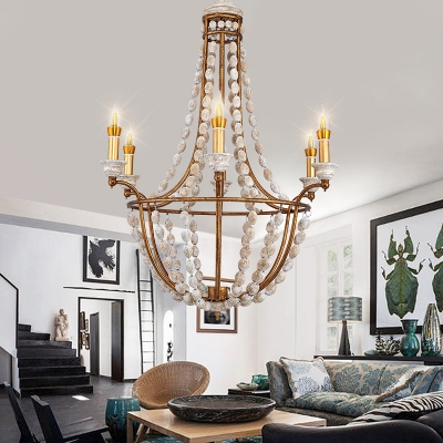 Dining Room Candle Chandelier Light Metal and Wooden Beads 5 Lights Antique Style Gold Pendant Light