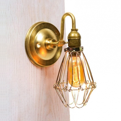 Dining Room Hallway Caged Wall Light Metal Single Light Industrial Brass Sconce Wall Light