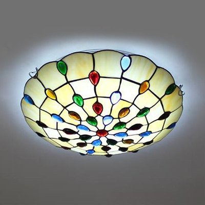 Dome Living Room Ceiling Mount Light Glass Tiffany Style Vintage Overhead Light with Jewelry