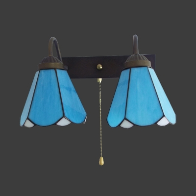 European Style Blue Wall Sconce with Pull Chain 2 Lights Glass Sconce Light for Dining Room