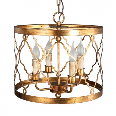 European Style Drum Shape Chandelier 4 Lights Gold Pendant Light for Dining Room Kitchen