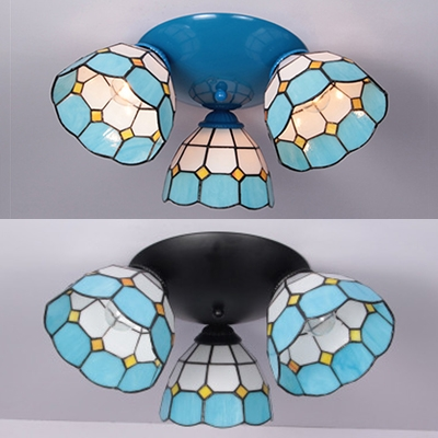 Glass Conical Ceiling Mounted Light 3 Lights Mediterranean Style Light Fixture in Blue/Black for Room