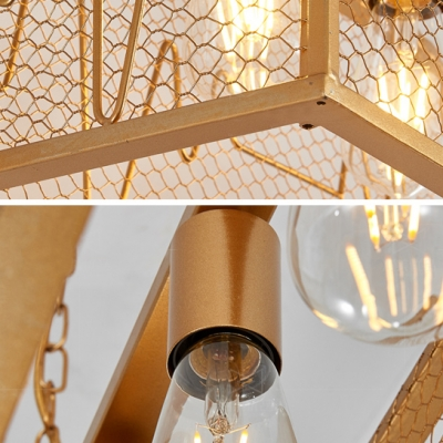 Gold Wire Caged Island Pendant Metal 4 Lights Industrial Ceiling Light for Dining Room