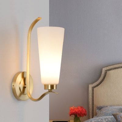 Modern Trapezoid Shade Wall Sconce 1/2 Light Frosted Glass Wall Lamp in White for Bedroom Hotel