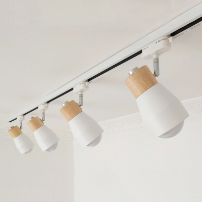 Rotatable Living Room Ceiling Lamp Wood 4 Lights Contemporary LED Track Lighting