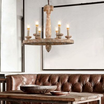 Round Dining Room Pendant Lighting Wood 5/6 Lights Vintage Style