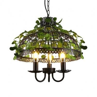 Rustic Chandelier with Cage and Leaf Decoration Kitchen 3 Lights Metal Chandelier Light