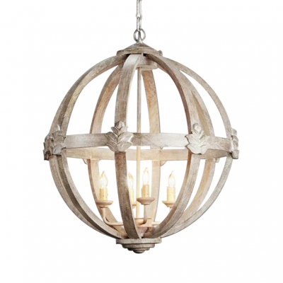 Rustic Style Chandelier Light with Orb Shape 4 Lights Metal and Wood Pendant Light in White