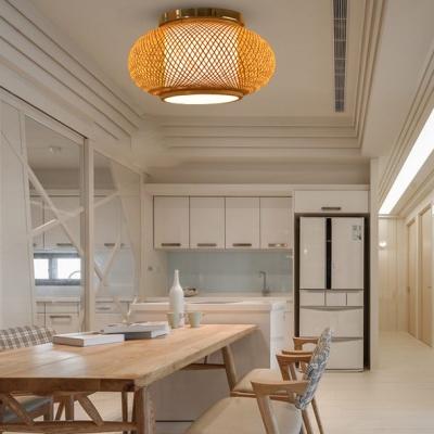 Rustic Style Lantern Shape Ceiling Light Fixture Single Light Wood Flush Mount Ceiling Light for Indoor