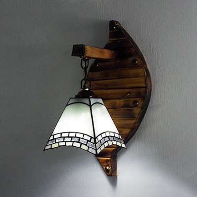 Stained Glass Hanging Light 1 Light Tiffany Style Wall Lamp for Bedroom Dining Room