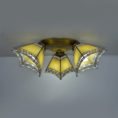 Tiffany Style Conical Ceiling Lamp Stained Glass 3 Lights Flush Mount Light for Balcony