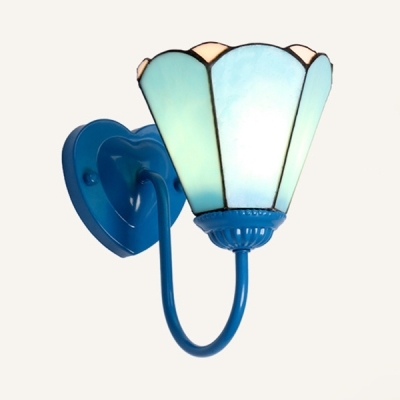 Tiffany Style Wall Light with Blue Shade 1 Light Glass Wall Sconce for Bedroom Living Room