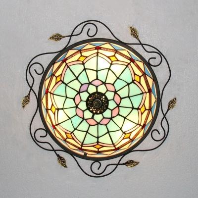 Vintage Dome Shade Flush Mount Light Clear/Sky Blue/Dark Blue Glass Ceiling Light for Bathroom