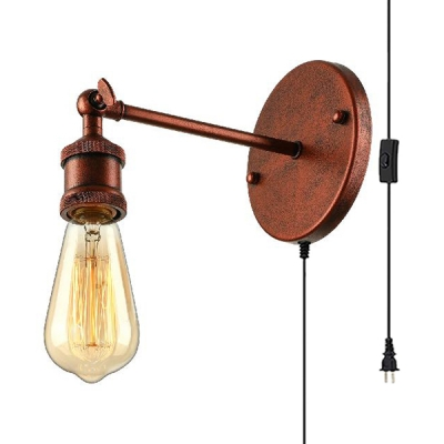 Vintage Rust Plug In Wall Lamp with Open Bulb 1 Light Metal Sconce Light for Restaurant Coffee Shop