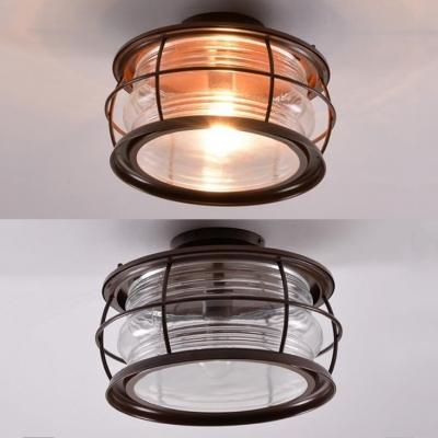 Vintage Style Dome Ceiling Light One Light Ridged Glass Flush Mount Light for Balcony