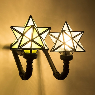 Vintage Style Star Wall Light 1 Head Stained Glass Sconce Light in Blue/Green/Pink for Cafe Bar