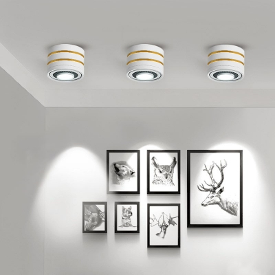 (4 Pack)White/Black Aluminum LED Spot Light with Adjustable Angle and White Lighting Round Shape Ceiling Light Fixture for Hallway