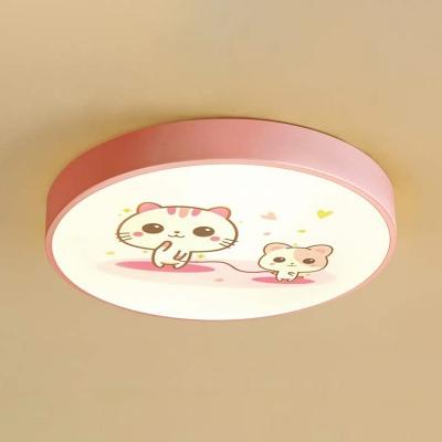 White Lighting/Stepless Dimming Light Fixture Kindergarten 4 Cute Animal Pattern Ceiling Mount Light