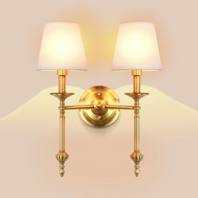 White Tapered Shade Wall Light 1/2 Heads Antique Style Linen Metal Sconce Light for Villa