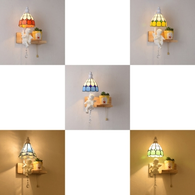 1 Light Domed Wall Lamp with Angel Decoration Tiffany Style Stained Glass and Resin Wall Light for Kids Bedroom