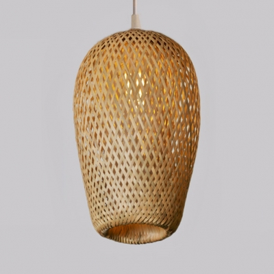Double Layer Bamboo Pendant Light Rustic 1 Light Hanging Lamp for Restaurant Cafe