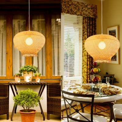 Single Light Curved Ceiling Fixture Rustic Style Rattan Ceiling Pendant Light for Dining Room