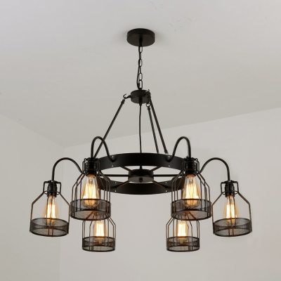 6 Lights/8 Lights Caged Ceiling Pendant Rustic Metal Chandelier Lighting with Hanging Chain in Black