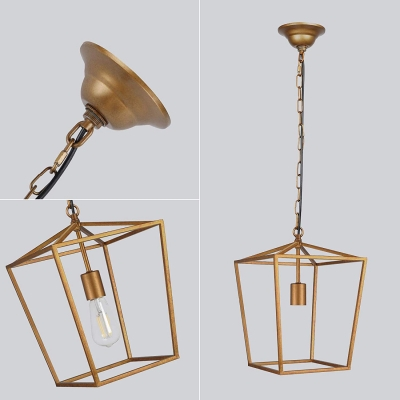 Antique Brass Lantern Pendant Lighting Industrial 1 Light Metal Ceiling Lamp with Hanging Chain