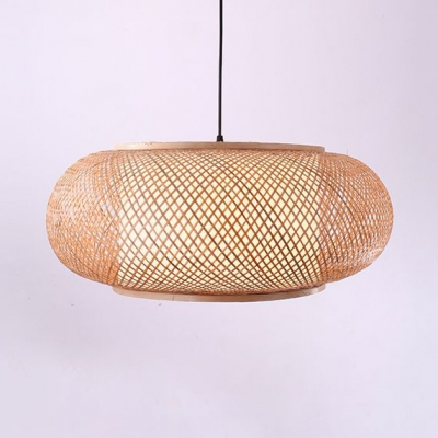 Antique Lantern Pendant Lighting Rattan Single Light Beige Ceiling Fixture for Dining Room