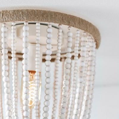 Antique Style Bell Shape Flush Mount Ceiling Fixture Wood Beads Single Light White Ceiling Light for Indoor