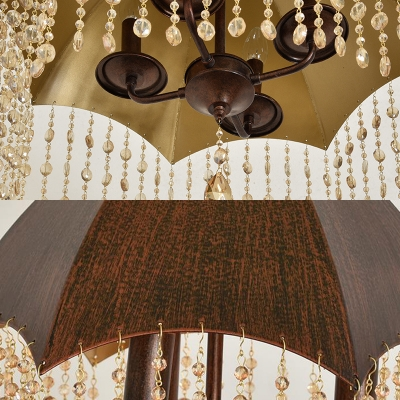 Antique Style Suspension Lamp with Conical Shade and Clear Crystal Decoration 3 Lights Metal Chandelier