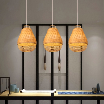 Bamboo Melon Ceiling Lights Single Light Antique Style Ceiling Fixture in Beige for Foyer