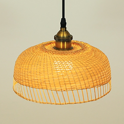 Barn/Dome Kitchen Pendant Lighting Rattan Single Light Antique Ceiling Light Fixture in Beige