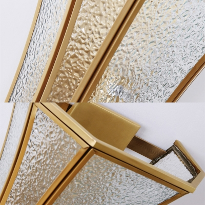 Bathroom Candle Wall Sconce with Shade Hammered Glass 1 Light Traditional Brass Wall Light
