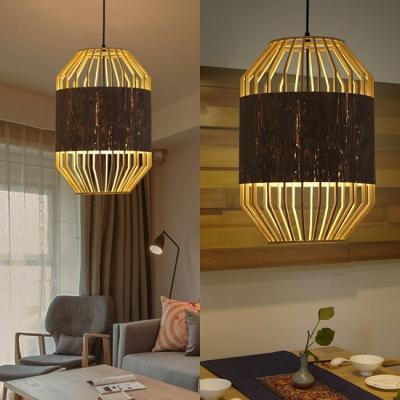 Beige Birdcage Shape Pendant Lighting Single Light Vintage Style Rattan Ceiling Fixture for Bedroom