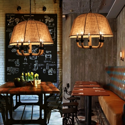 Beige Domed Shape Chandelier 5 Lights Rustic Style Rope and Fabric Pendant Light for Restaurant